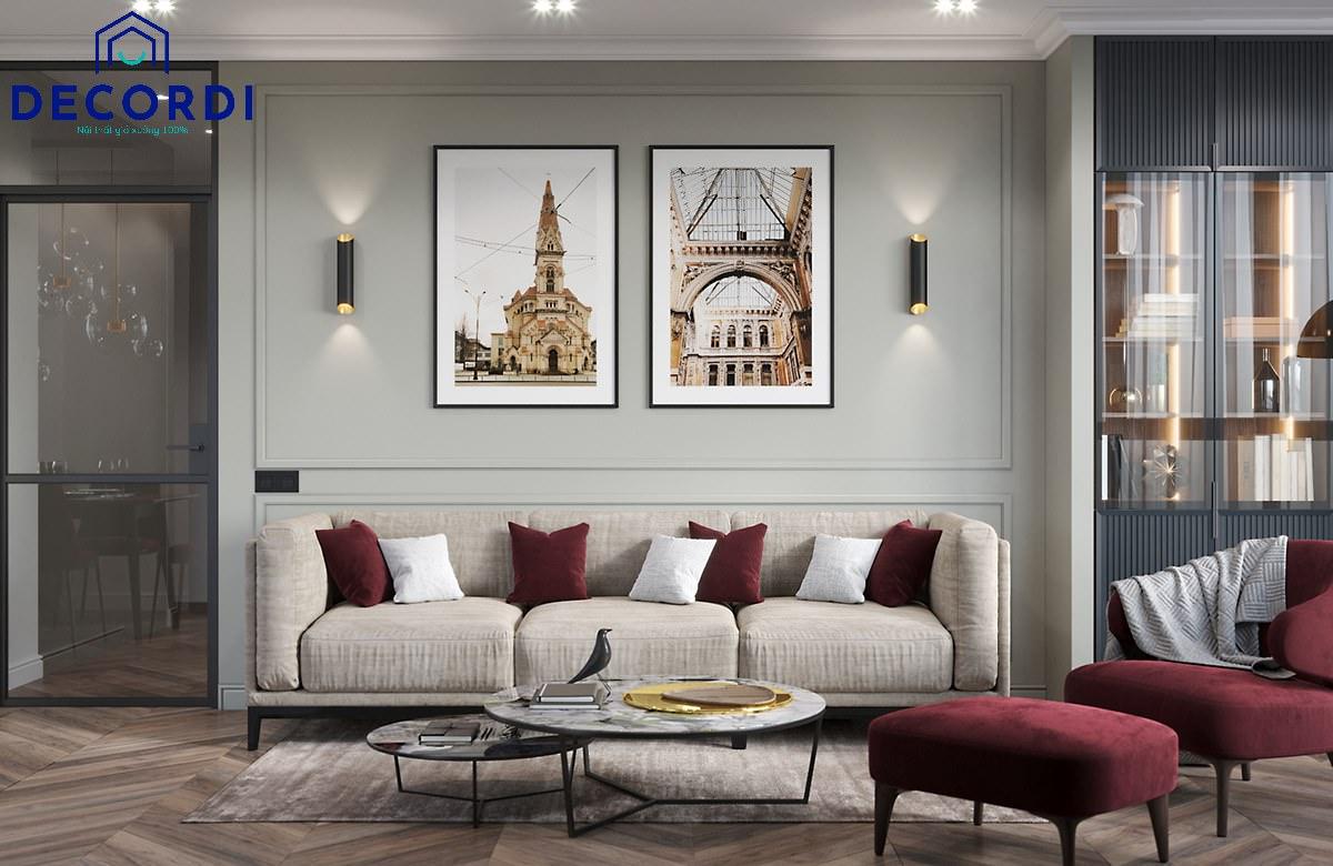 Thiết kế phòng khách rộng rãi với bộ sofa sáng màu