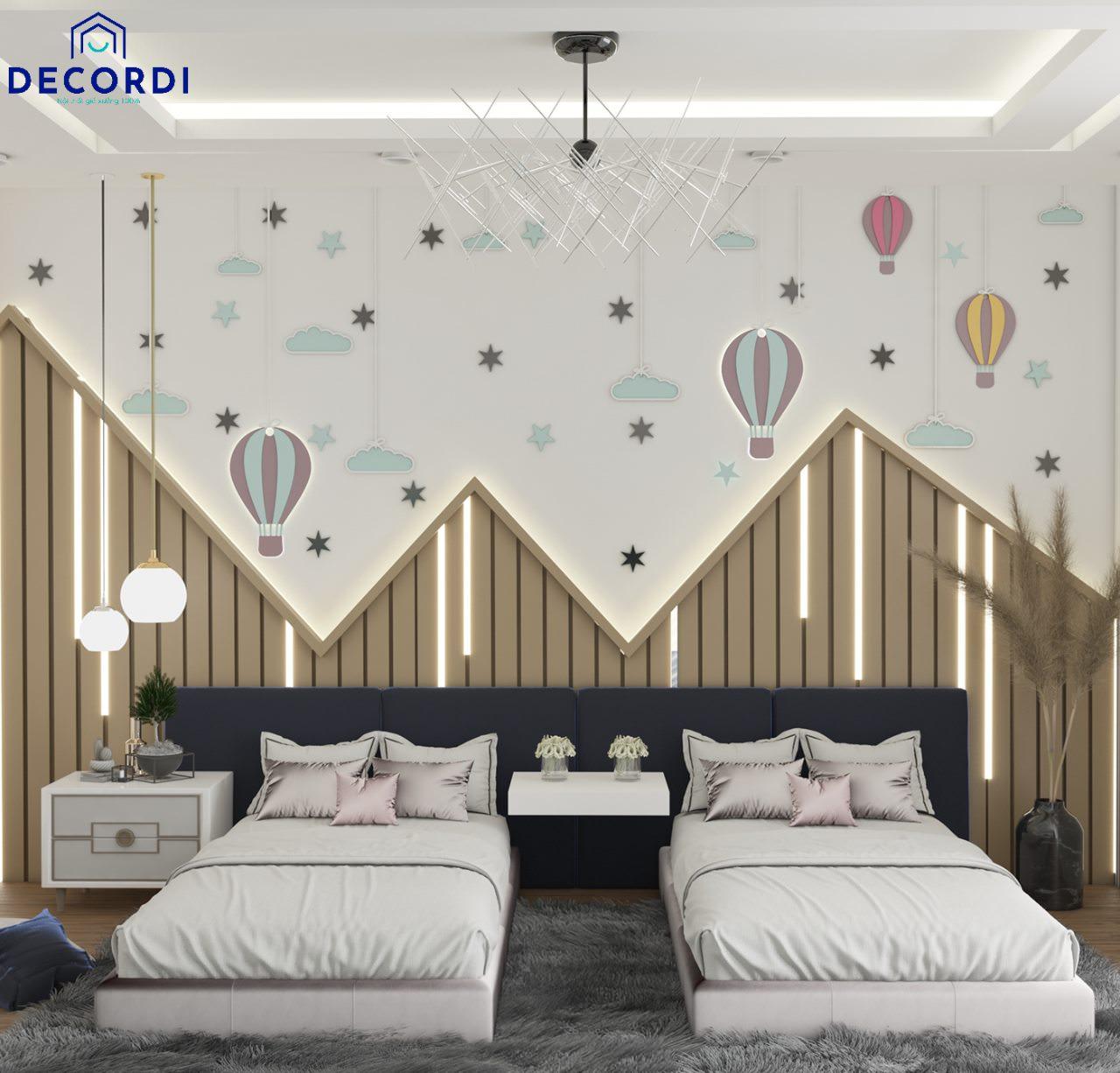 Thiết kế phòng ngủ 2 giường đôi cho 2 bé