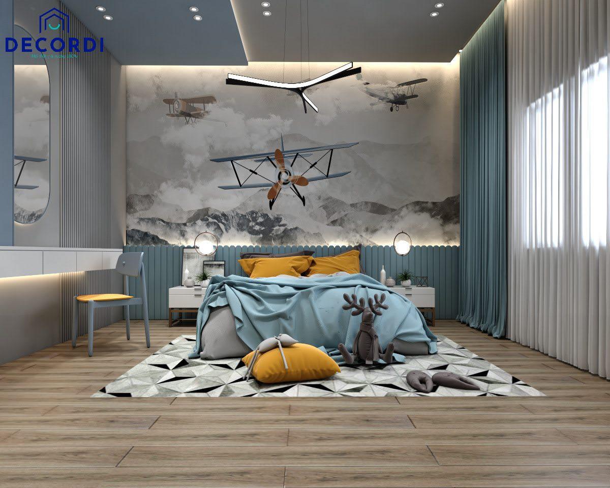 Phòng ngủ màu xanh dương nhạt cho bé trai