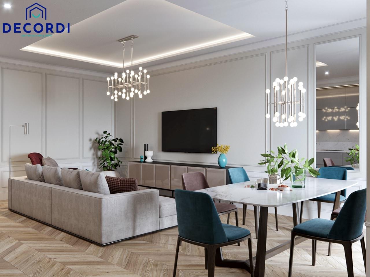 Bố trí không gian phòng khách nhỏ gọn kết hợp khu vực bàn ăn