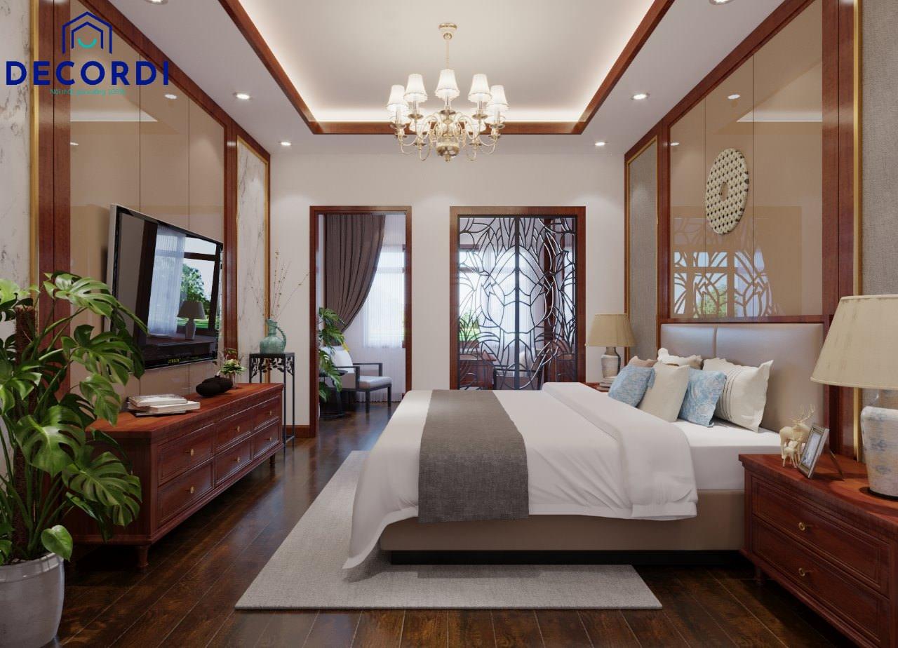không gian phòng ngủ rộng rãi kết hợp phòng làm việc