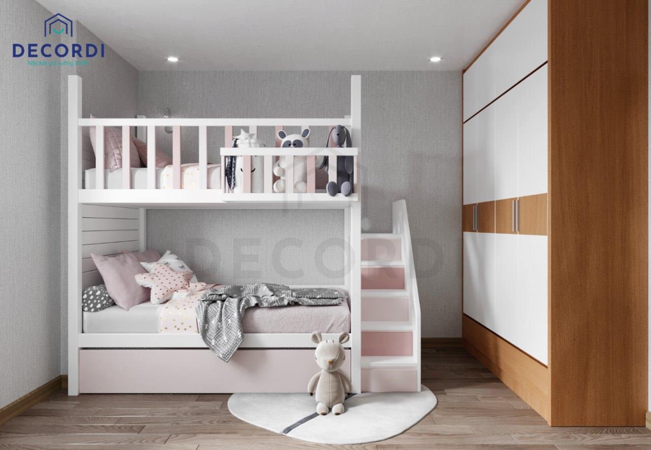 Mẫu giường tầng dễ thương cho 2 bé