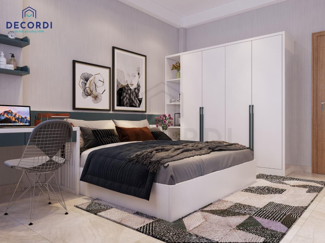 Không gian phòng ngủ cuốn hút, ngọt ngào với màu tím nhạt