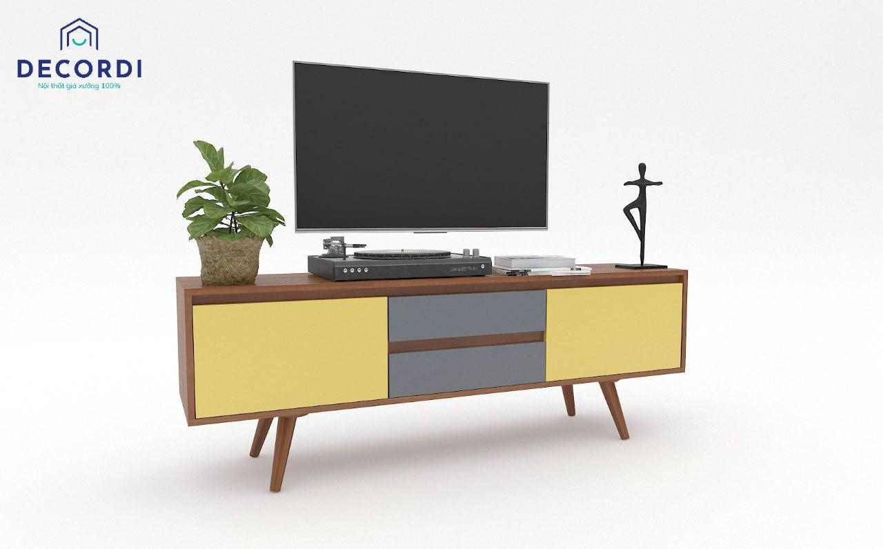 Kệ tivi đặt sàn đế cao màu xám-vàng độc đáo 1600x350x500
