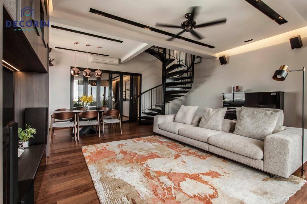 Không gian nội thất phòng khách rộng cho nhà phố