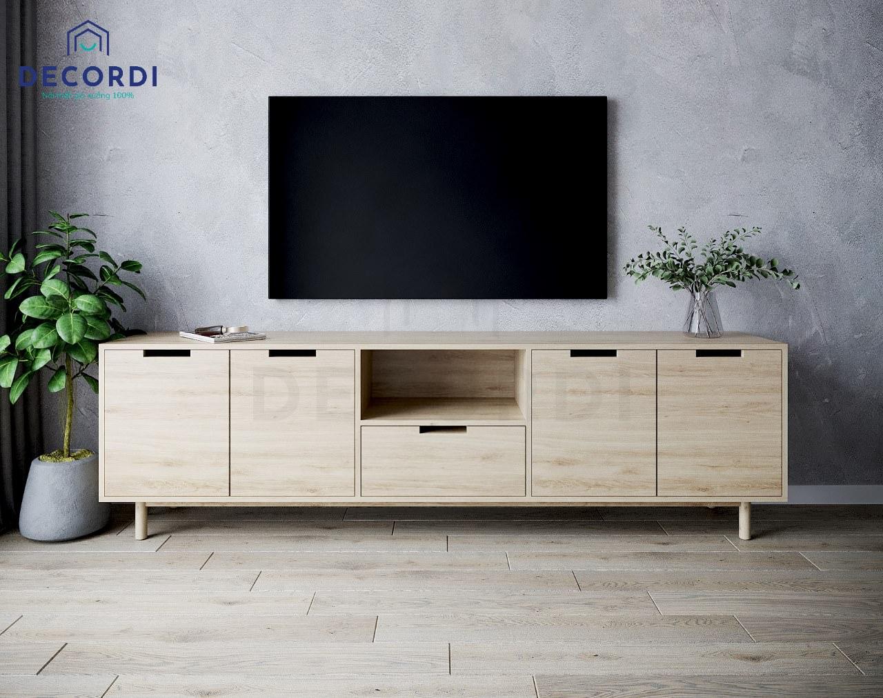 Mẫu kệ tivi đặt sàn đế thấp full màu gỗ