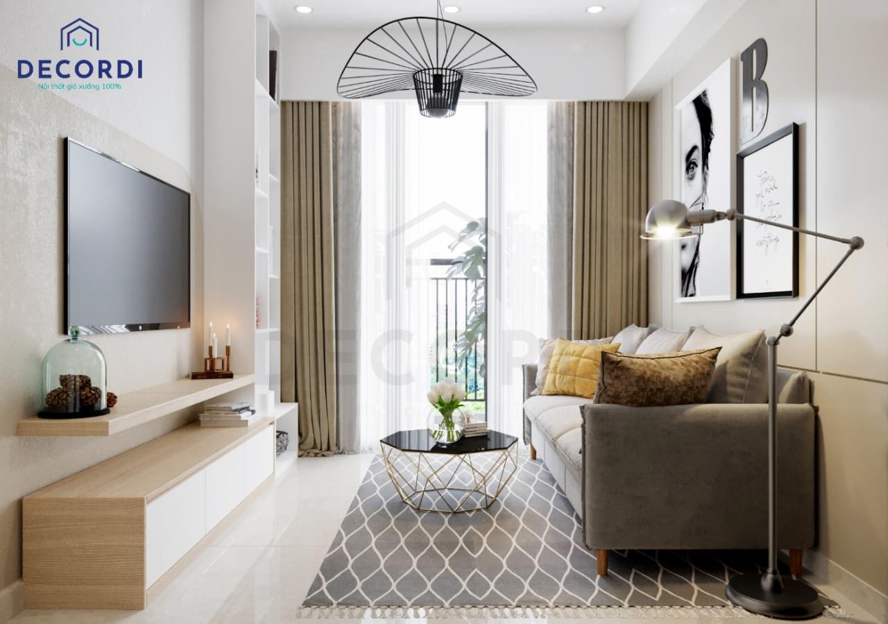 Không gian nội thất phòng khách nhỏ hiện đại với kệ tivi treo tường