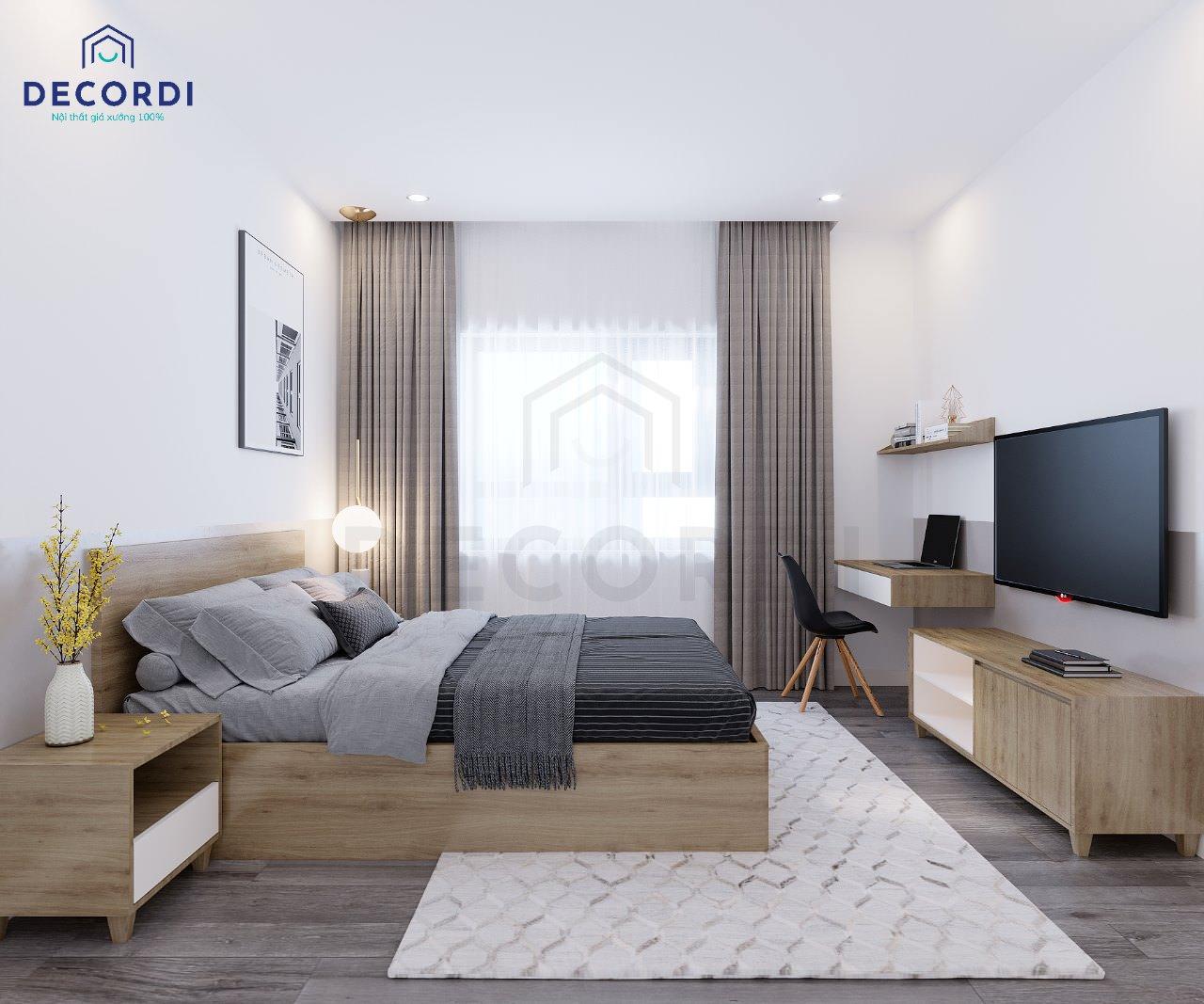 thiết kế nội thất phòng ngủ master đơn giản màu trắng nâu
