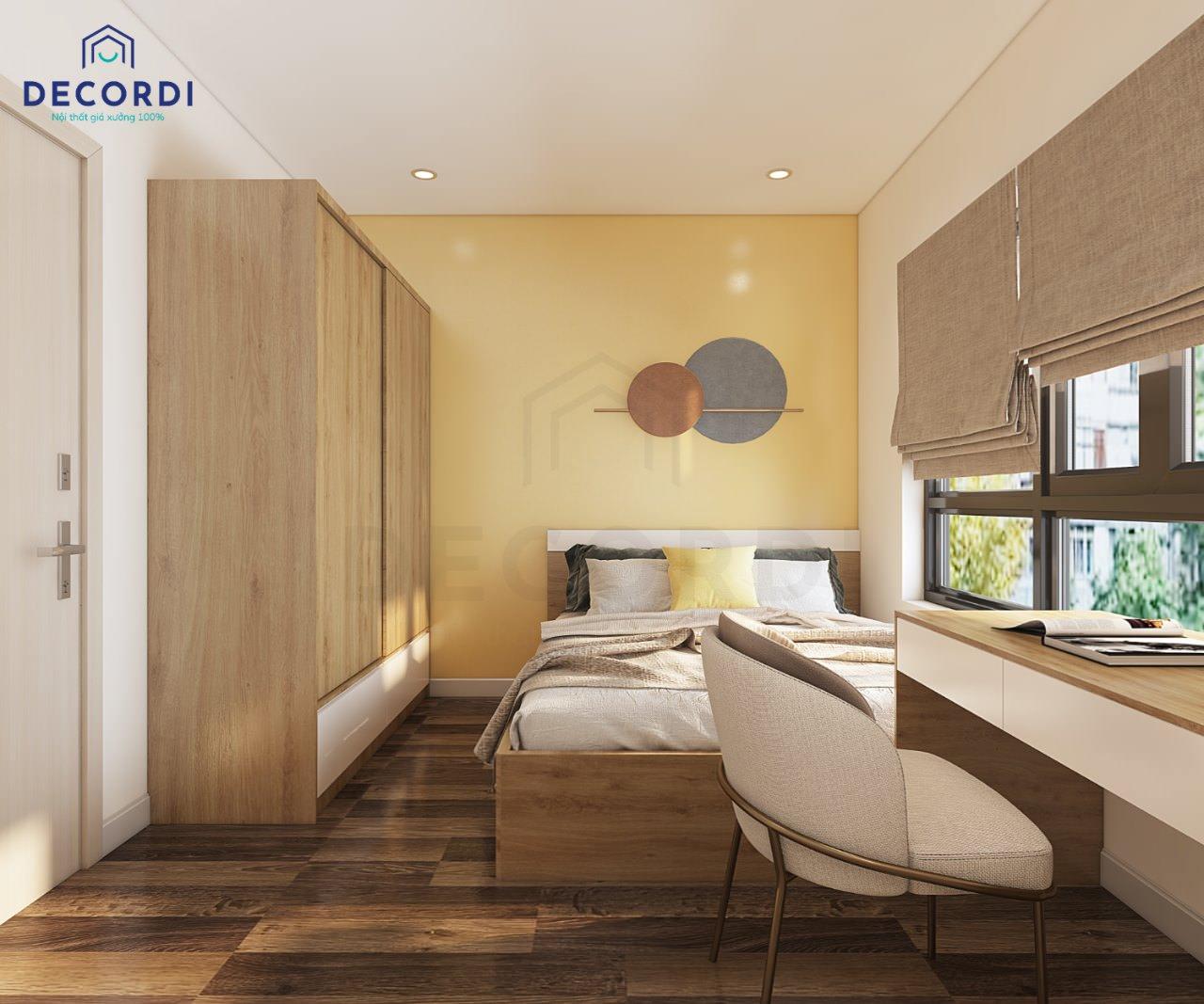 thiết kế phòng ngủ master màu vàng độc đáo