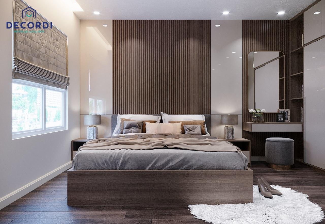 Phòng ngủ màu nâu đẹp với chất liệu gỗ