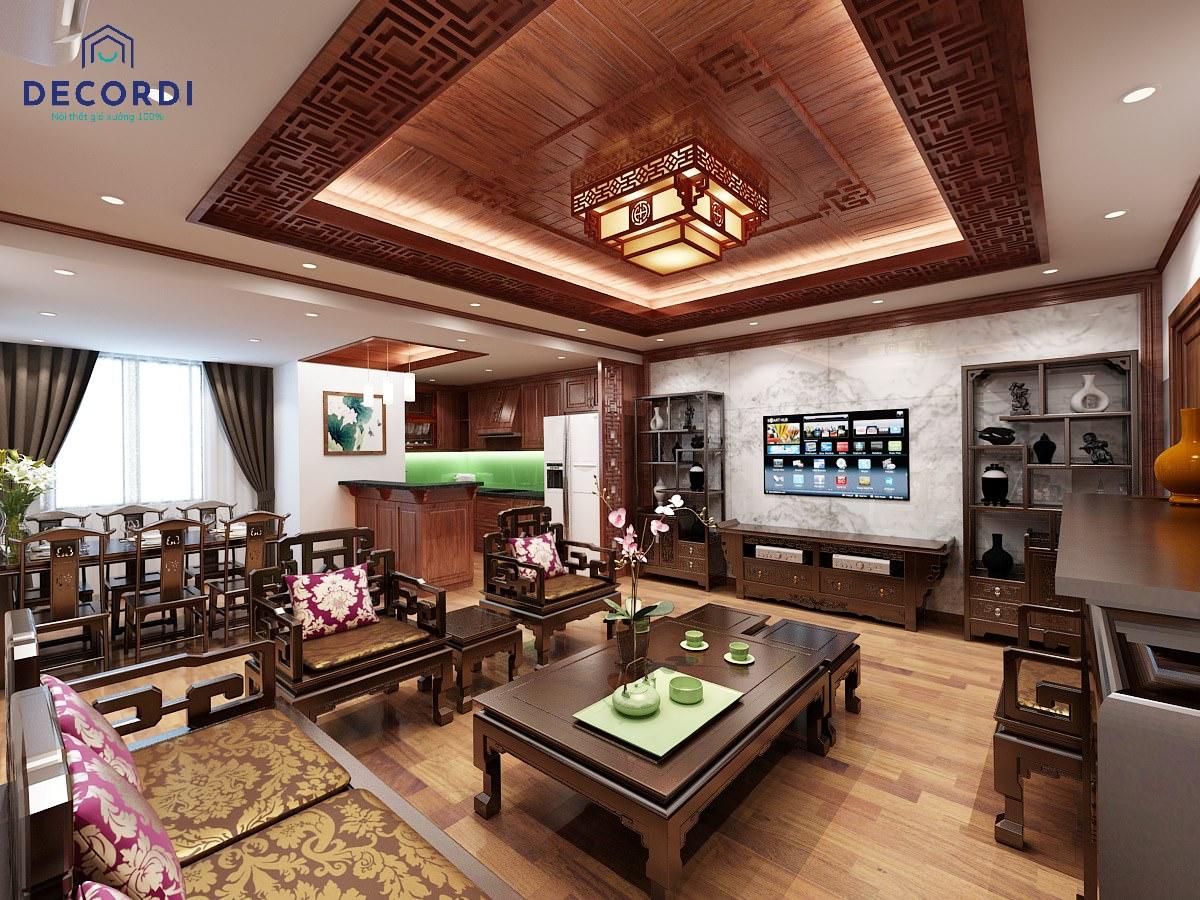 Không gian phong khách ấm cúng, sang trọng với chất liệu gỗ tự nhiên