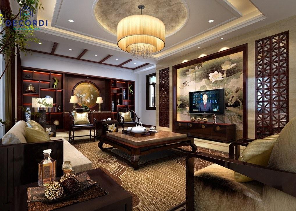 Mẫu phòng khách cho nhà biệt thự lớn phong cách truyền thống, đậm chất xưa