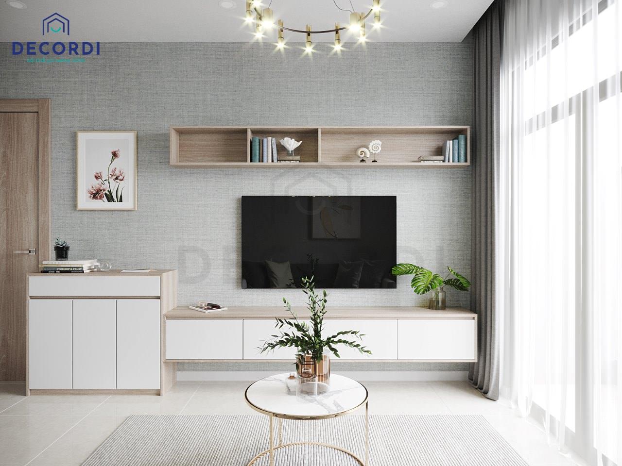 Kệ tivi treo tường thiết kế đơn giản