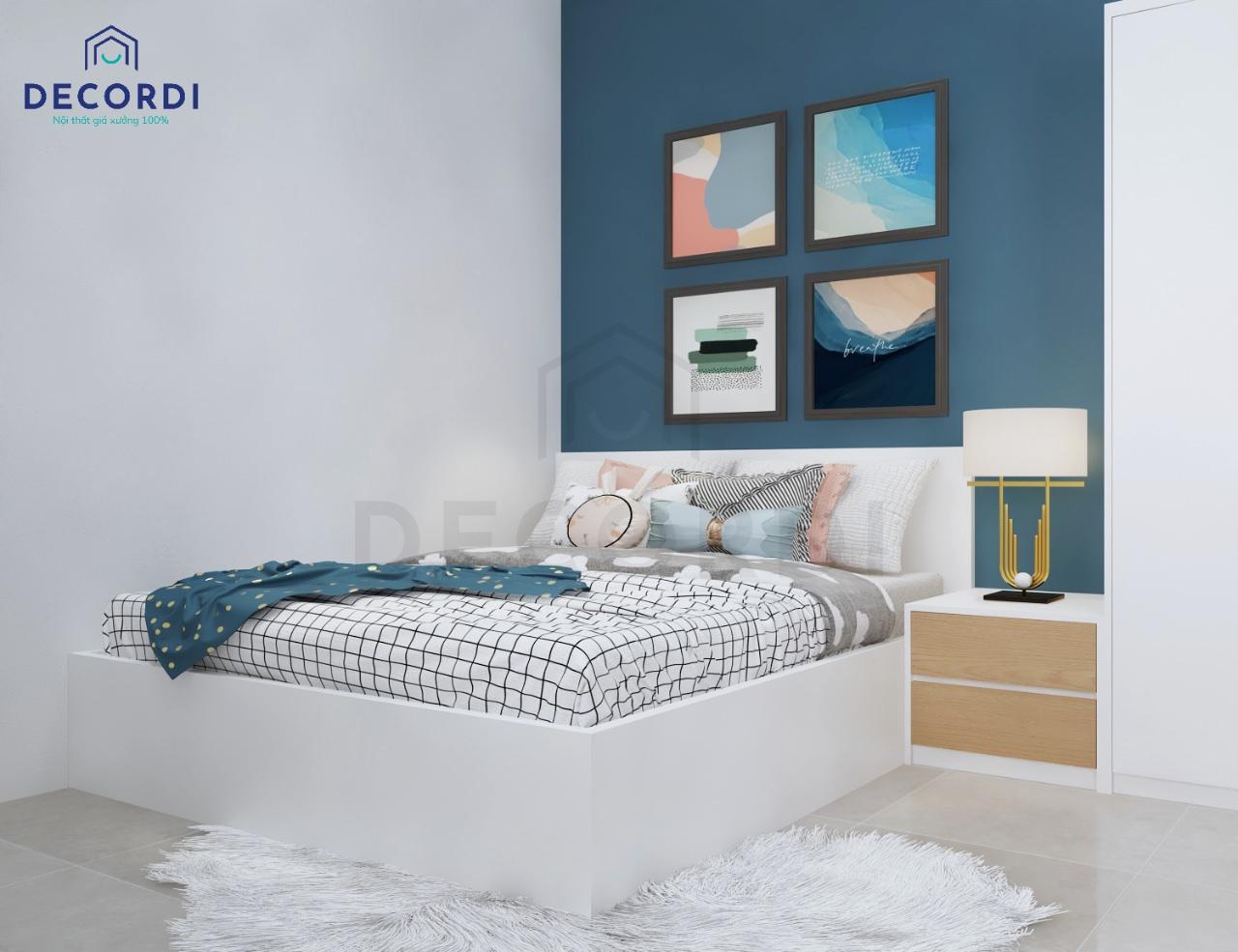 Phòng ngủ màu xanh dương đem lại sự tươi mới, mát mẻ