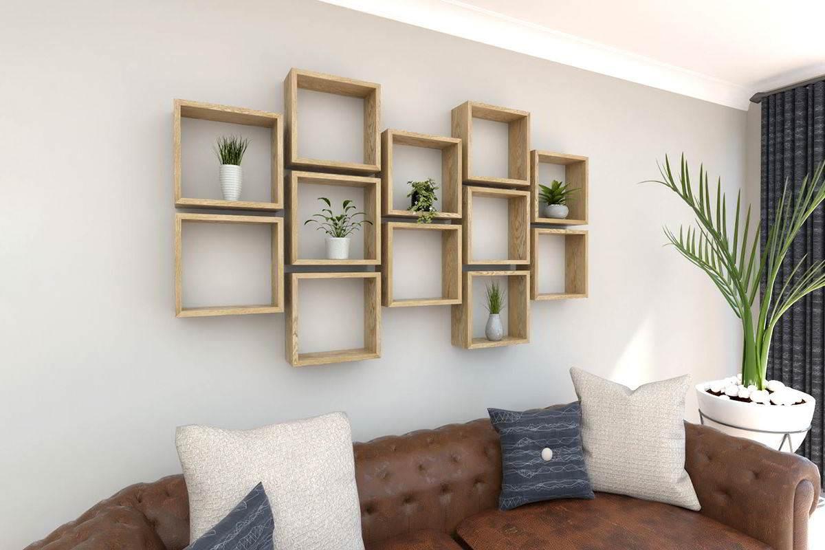 Kệ trang trí phòng khách hình ô vuông