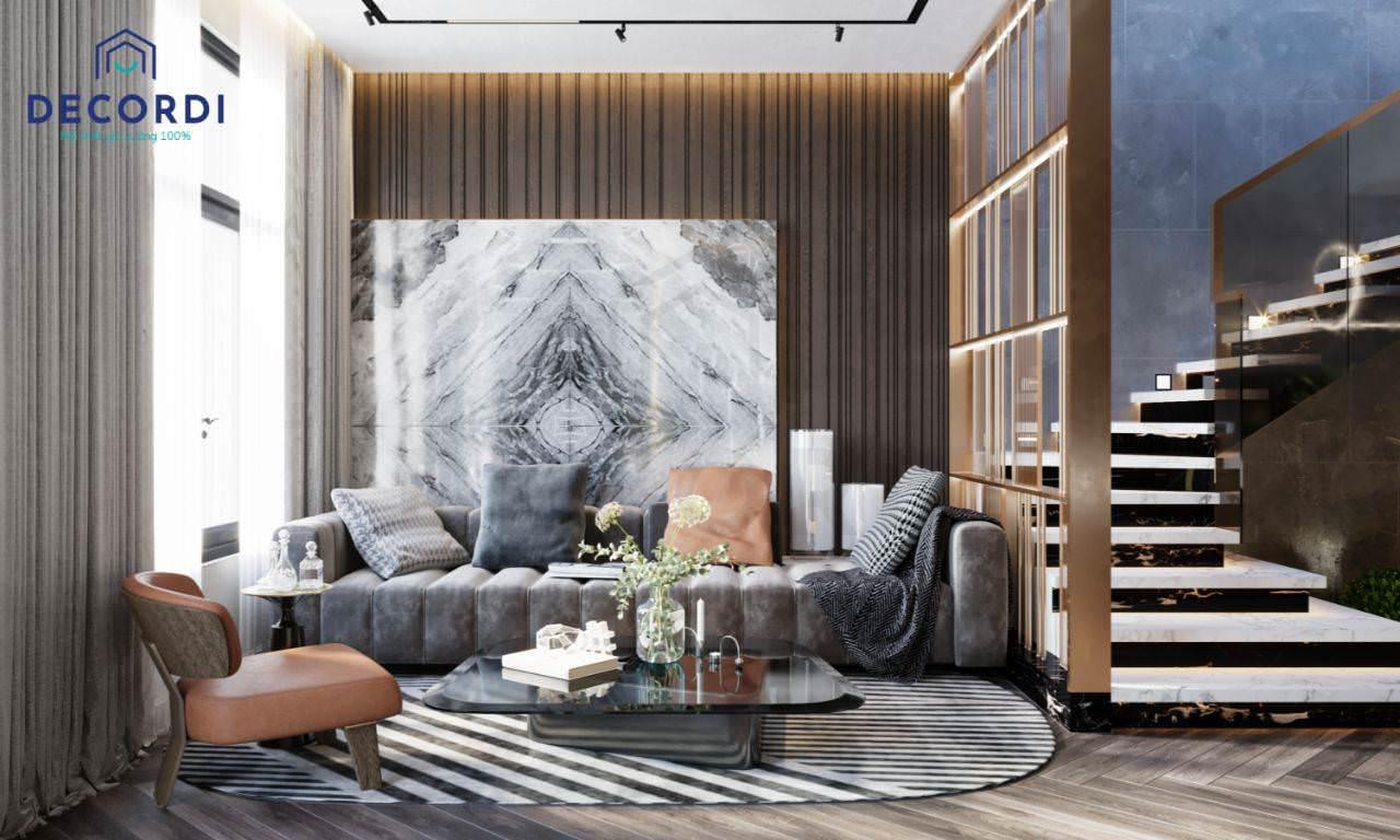 Mẫu cầu thang mặt đá sang trọng làm nổi bật không gian phòng khách
