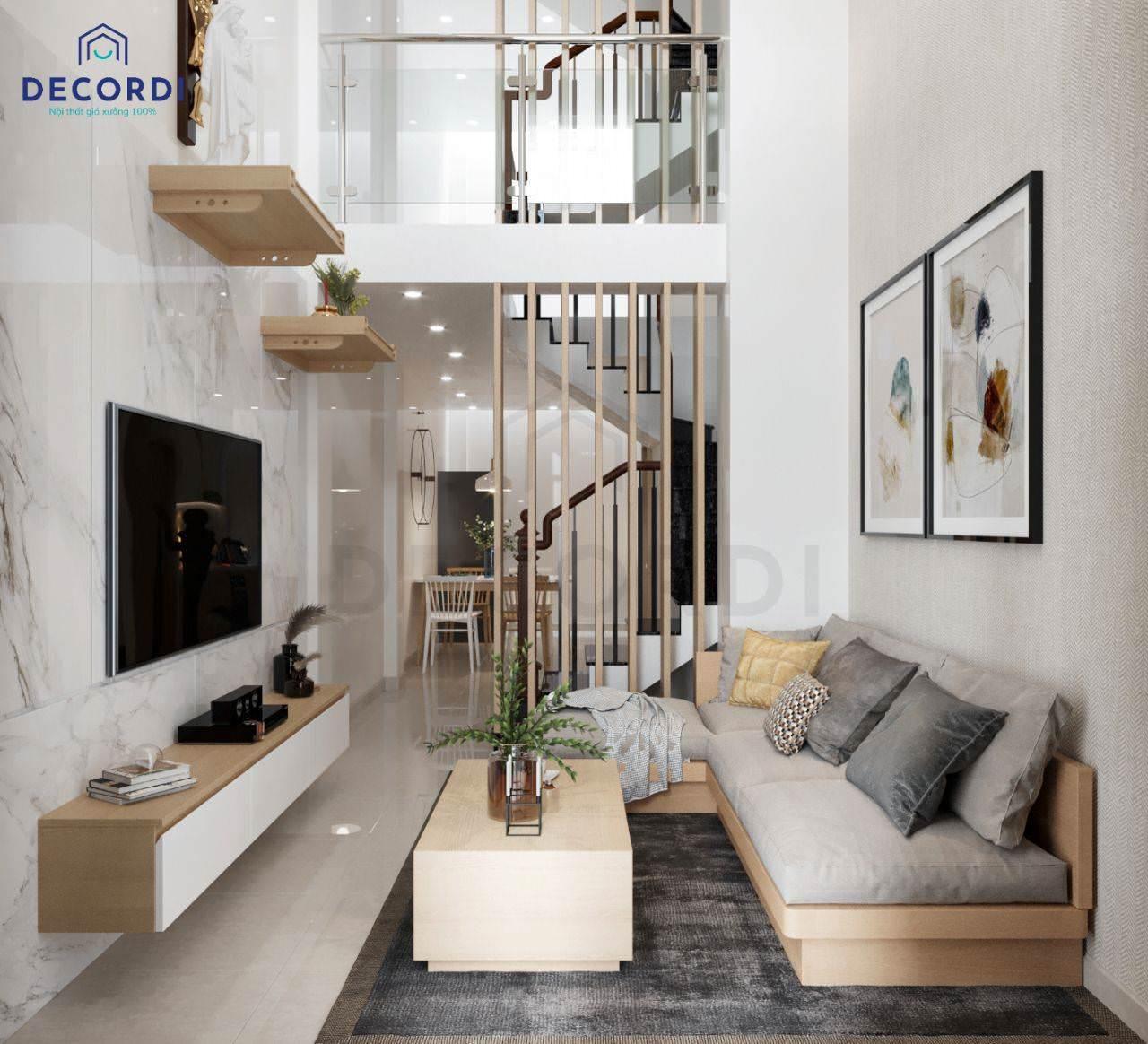 Bộ nội thất phòng khách thông tầng nhà ống phong cách tối giản từ chất liệu gỗ công nghiệp