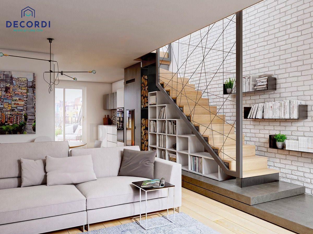 Bố trí cầu thang ở góc trái sofa tiện nghi tiết kiệm không gian
