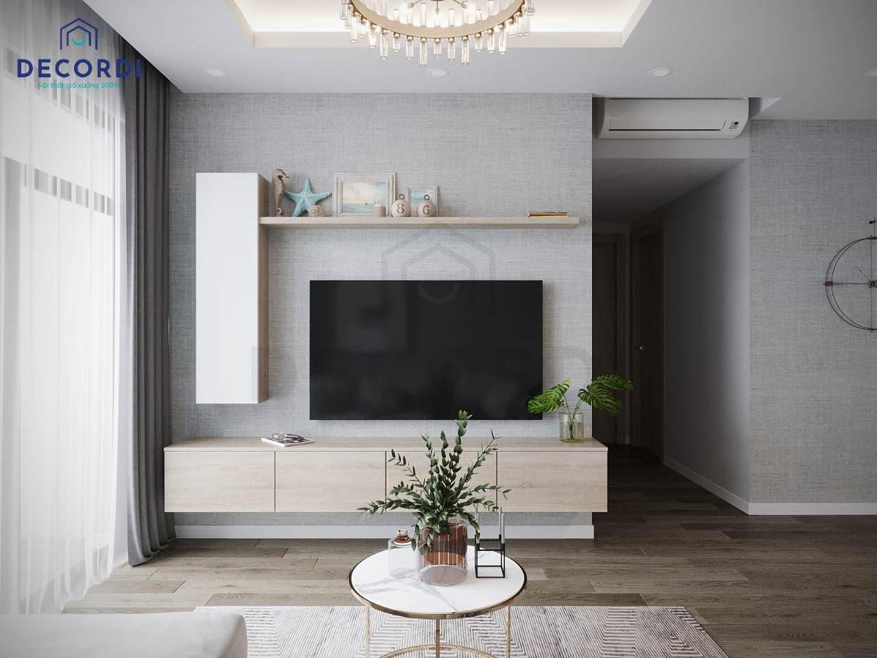 Kệ tivi treo tường màu gỗ đơn giản dễ phối