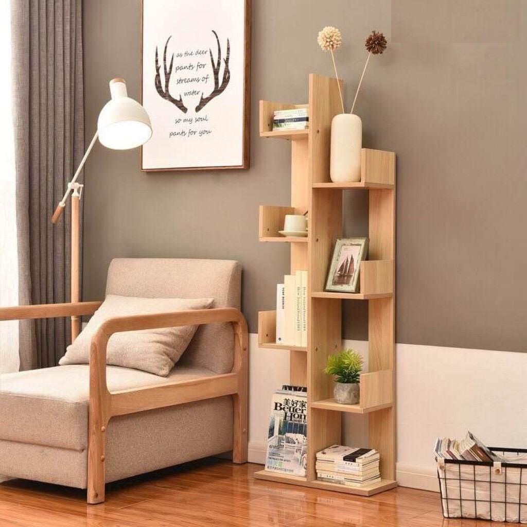 Kệ sách gỗ đứng trang trí phòng khách