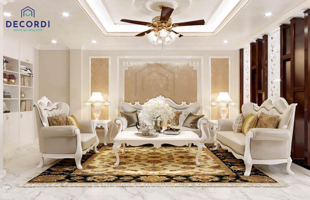 Bộ nội thất phong cách cổ điển cao cấp với gam màu kem sang trọng