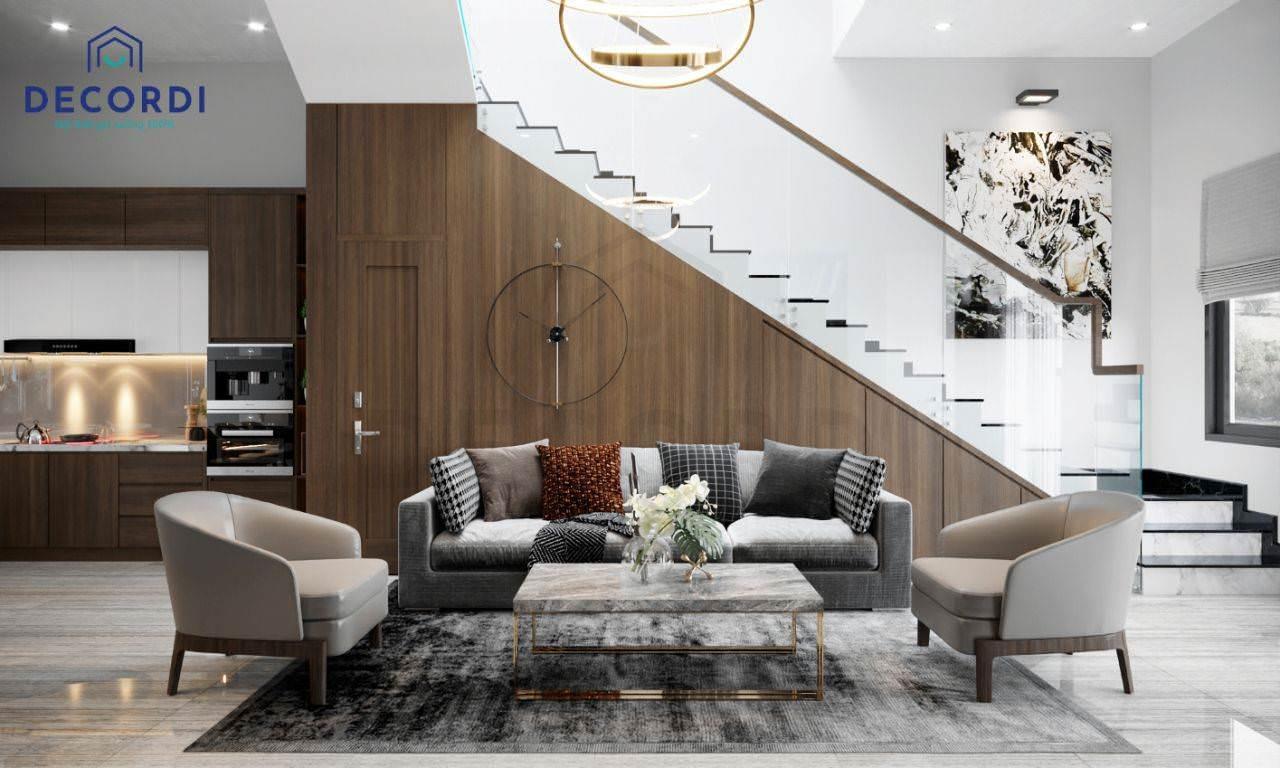 Mẫu phòng khách có cầu thang cho nhà phố hiện đại