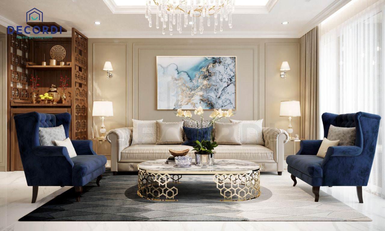 Mẫu phòng khách chon chung cư lớn phong cách tân cổ điển có bố trí thêm tủ thờ