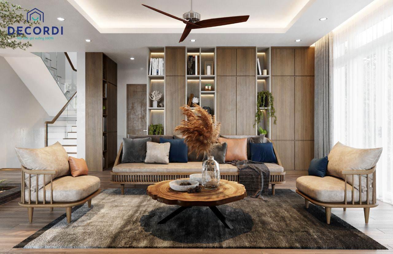 Bộ nội thất phòng khách hiện đại, ấm cúng cho nhà biệt thự