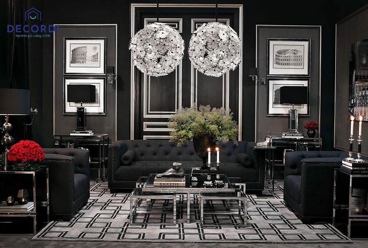 Bộ phòng khách tông màu đen cổ điển đem lại cho gia chủ sự bí ẩn quyền lực