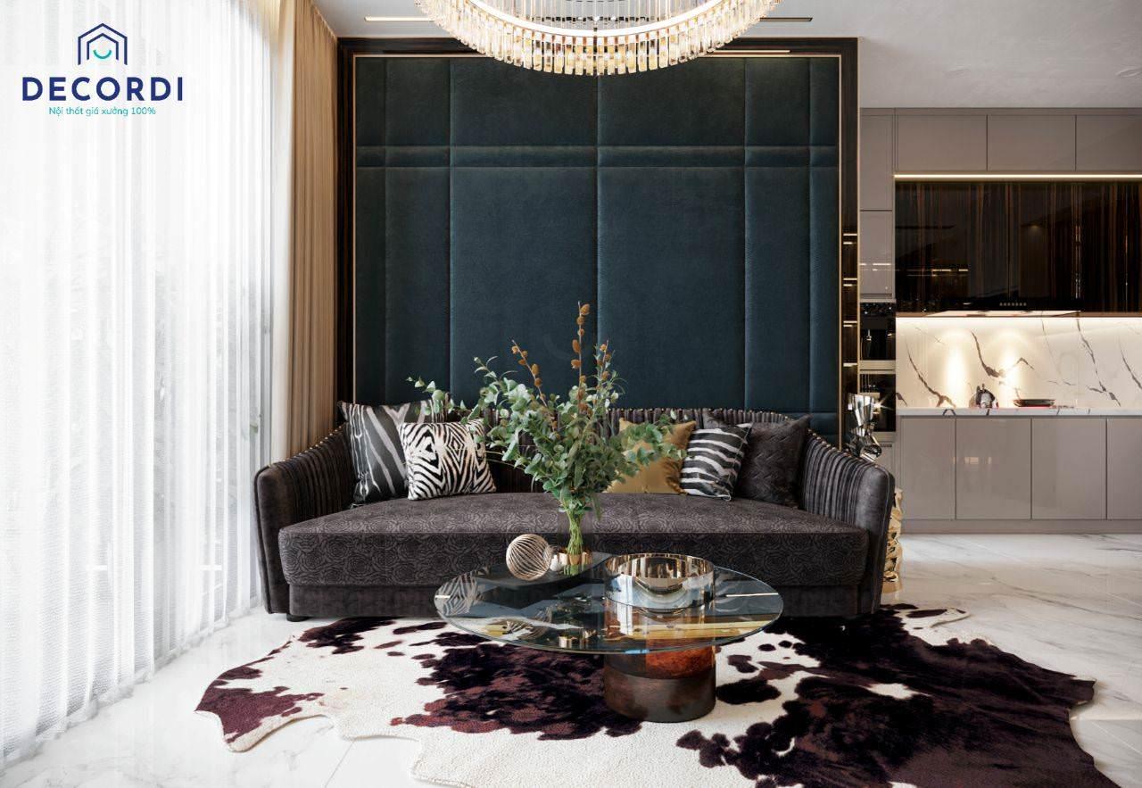 Cách phối màu độc đáo cho phòng khách nhỏ hiện đại nhà chung cư