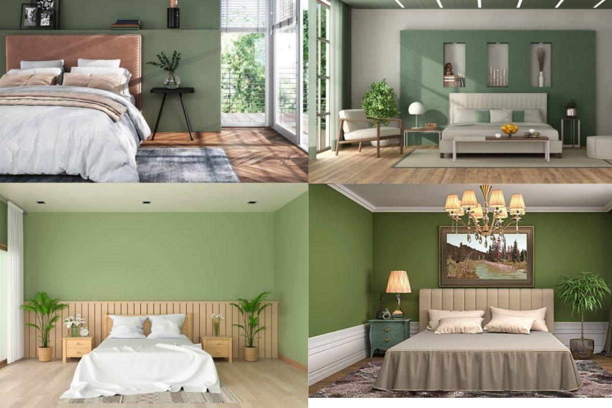 Sơn phòng ngủ màu xanh lá kết hợp với nội thất màu nâu gỗ đẹp