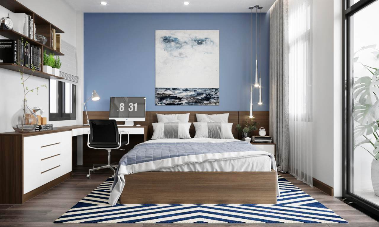 Màu sắc của nội thất hài hòa với tổng thể căn phòng