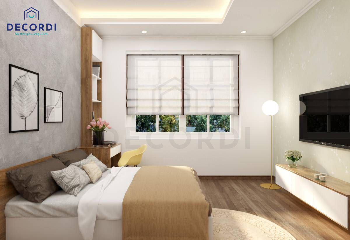 Lắp đặt cửa sổ trong phòng ngủ có kèm theo rèm 2 lớp để nghỉ ngơi thoải mái hơn