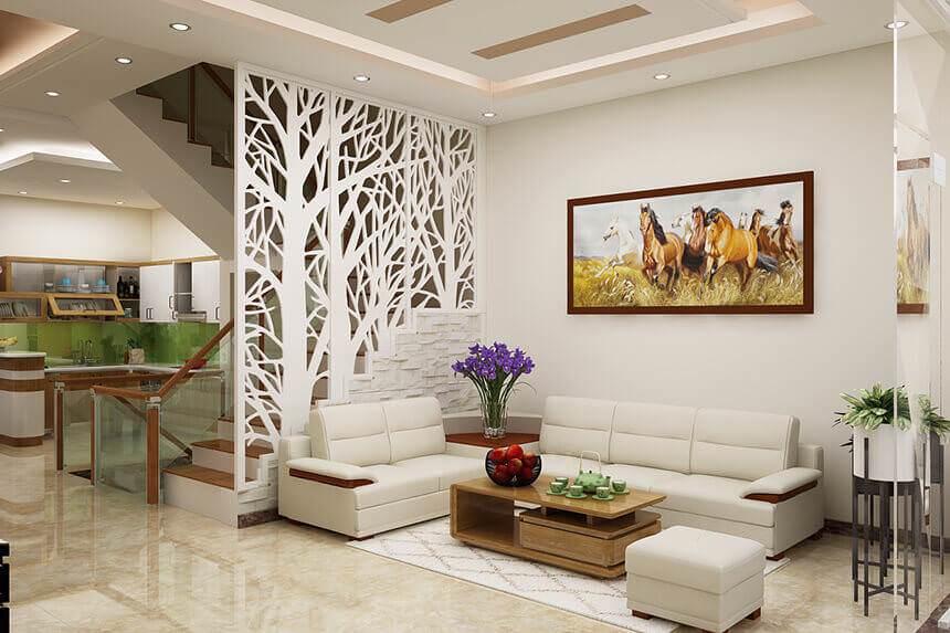 Vách ngăn phòng khách và phòng bếp hình cây độc đáo