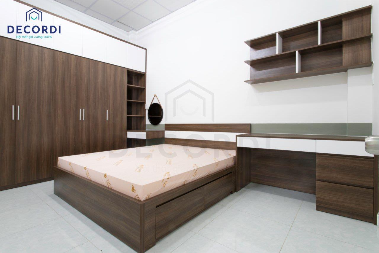 Bộ nội thất phòng ngủ màu gỗ óc chó sang trọng, tinh tế
