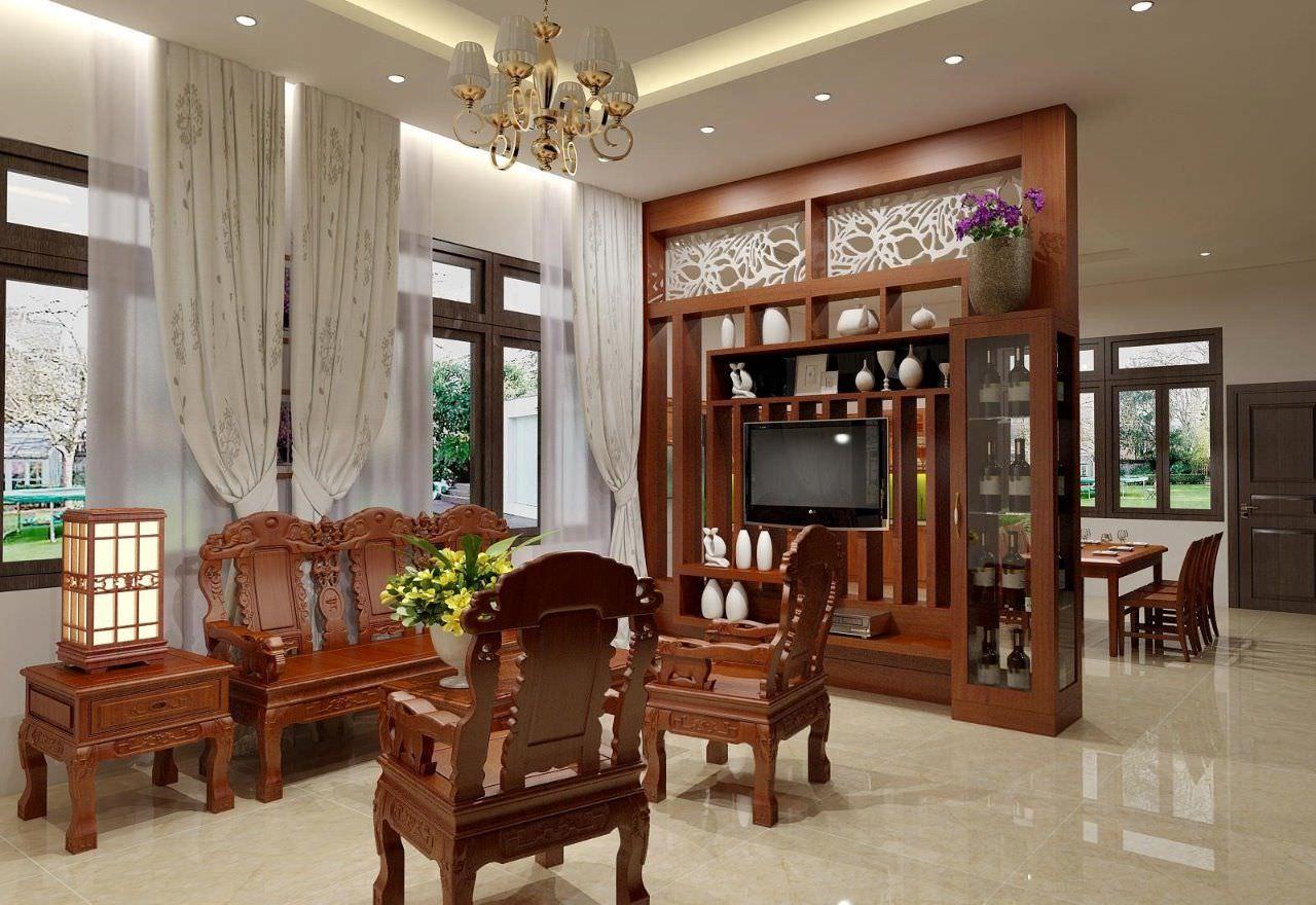 Mẫu vách ngăn không gian từ tủ rượu kết hợp kệ tivi phòng khách