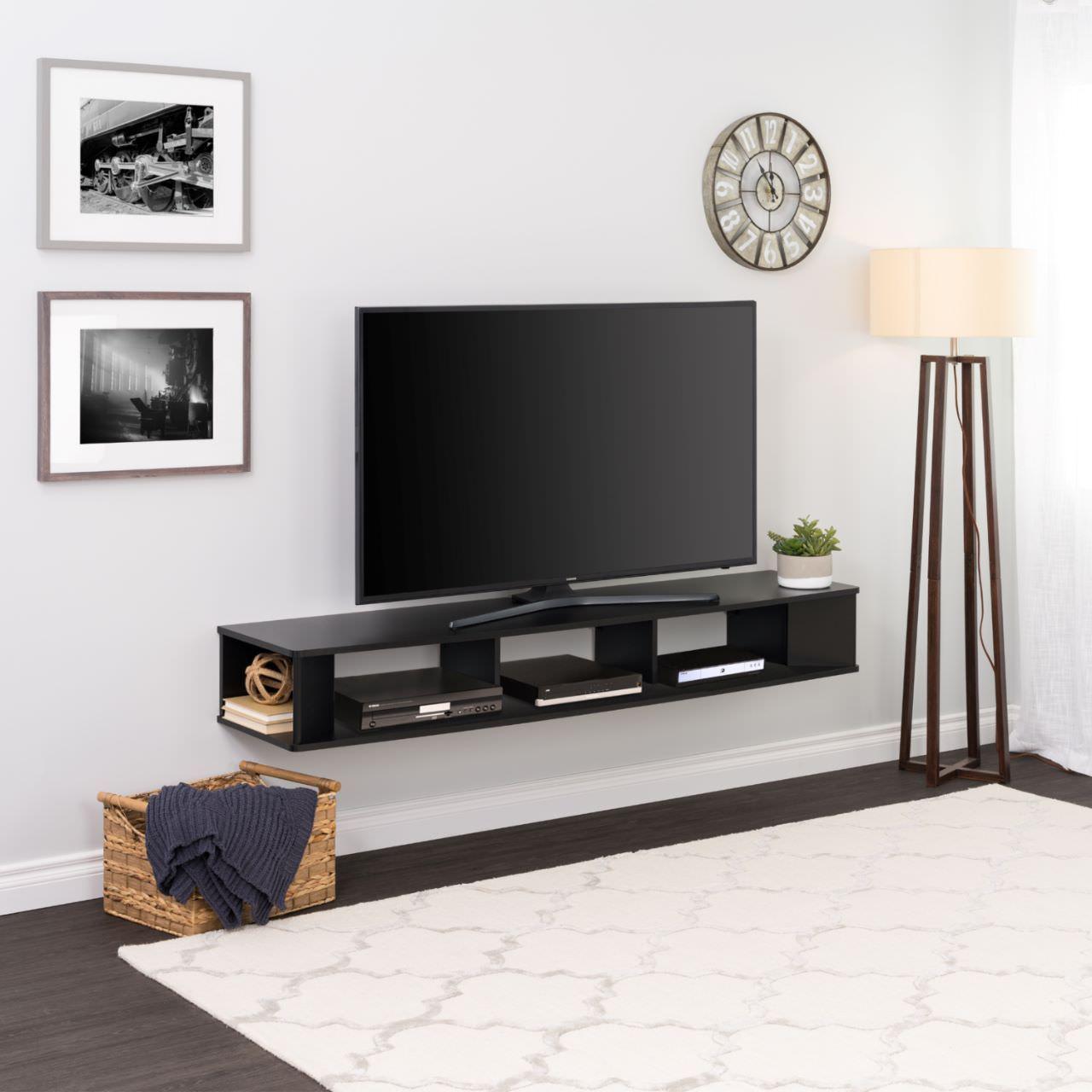 Kệ tivi treo tường sơn màu đen sạch sẽ nhỏ gọn