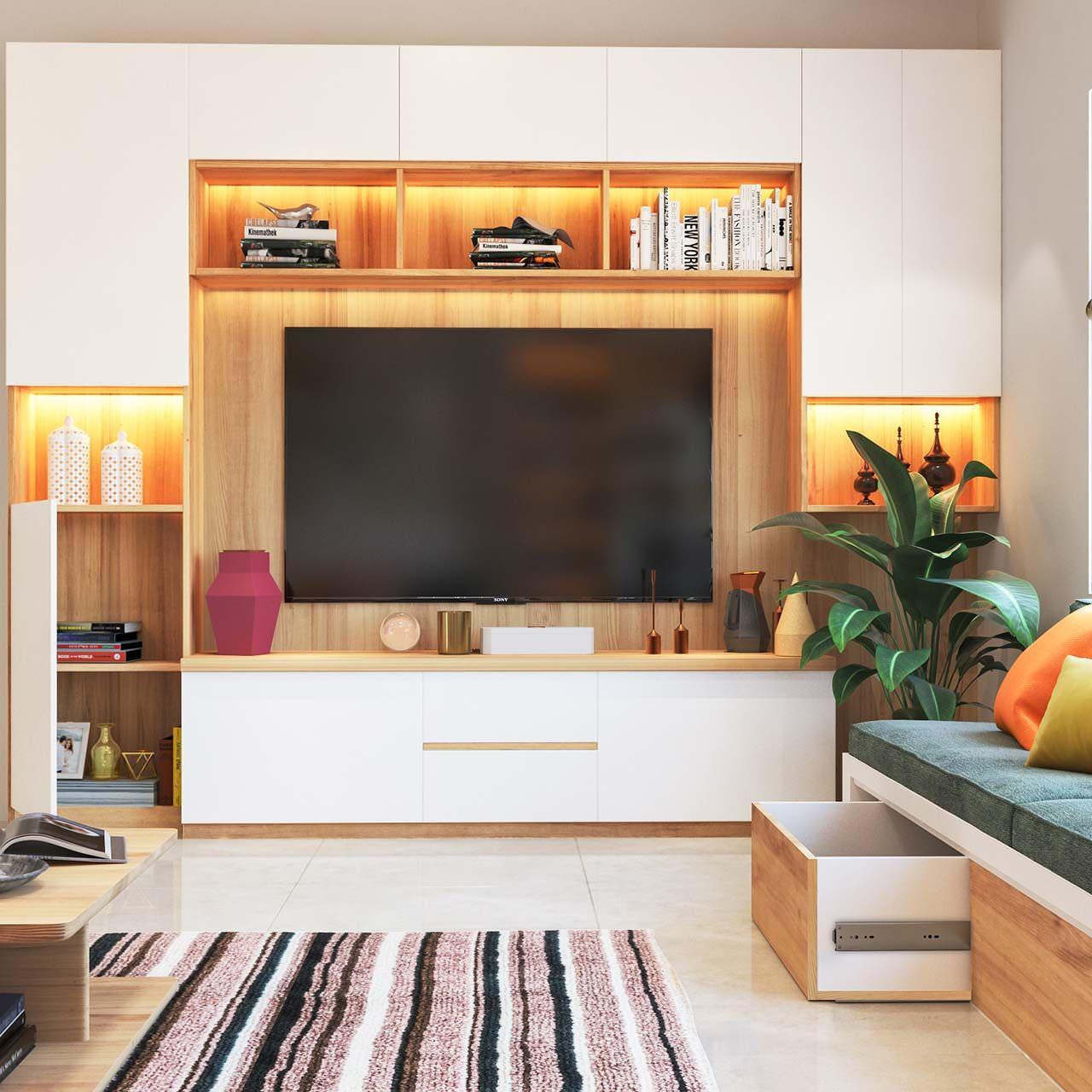 Tủ tivi kết hợp tủ rượu cánh trắng gỗ công nghiệp đẹp tinh tế