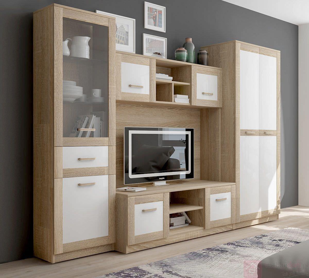 Tủ tivi với gam màu gỗ và trắng phối hợp vô cùng hài hào, trang nhã