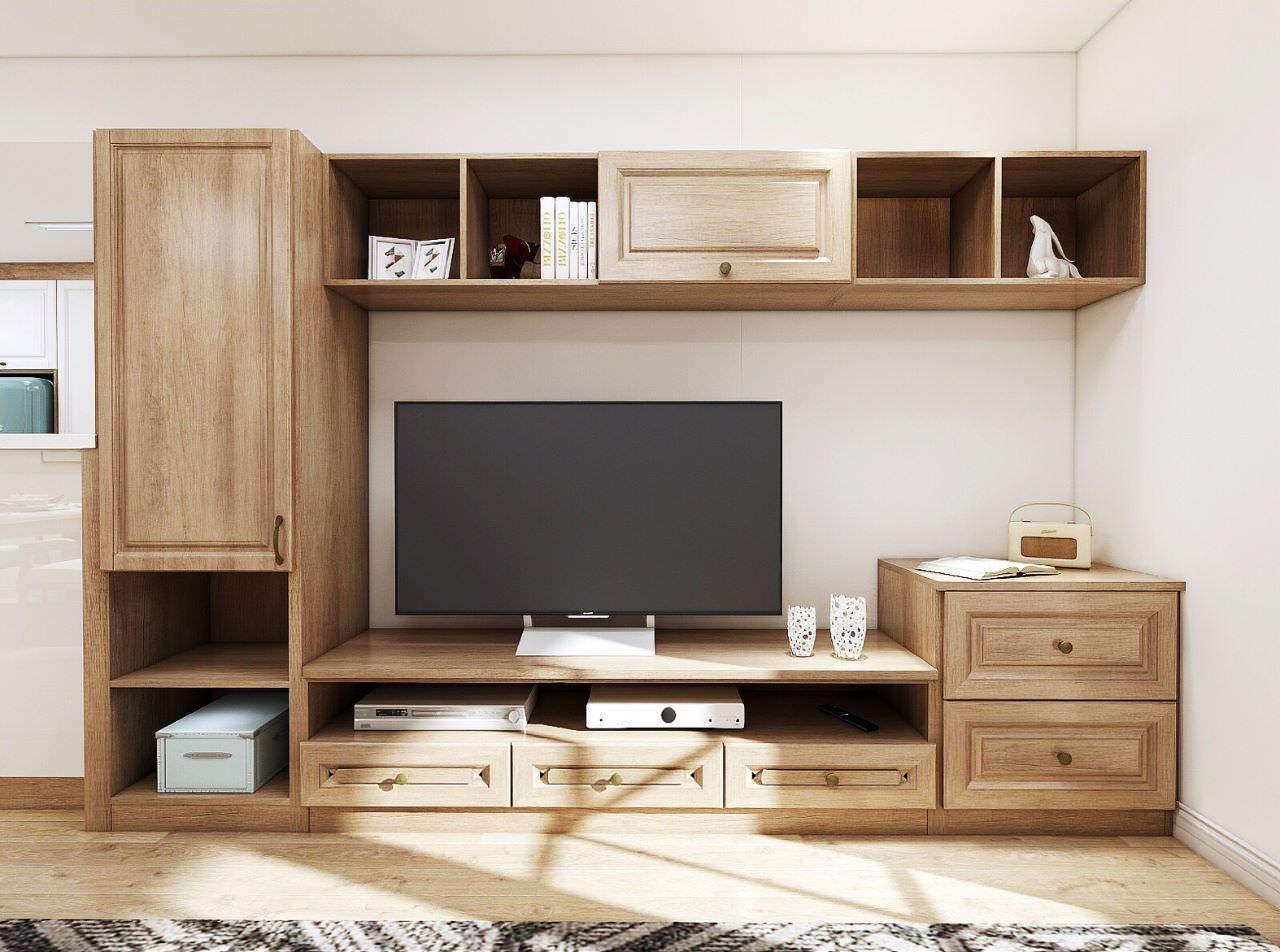 Bố trí nhiều ngăn kệ cho tủ tivi để tăng thêm không gian lưu trữ các vật dụng trong nhà