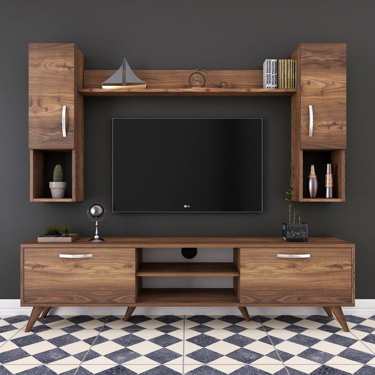 Mẫu kệ tivi gỗ công nghiệp màu gỗ đẹp