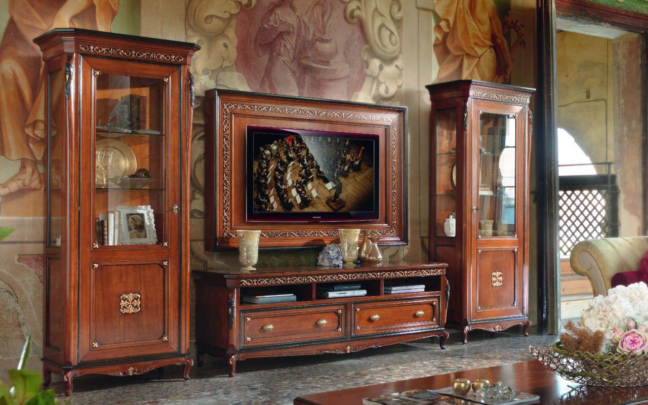 Thiết kế kệ tivi có tủ rươu phong cách tân cổ điển đẹp sang trọng