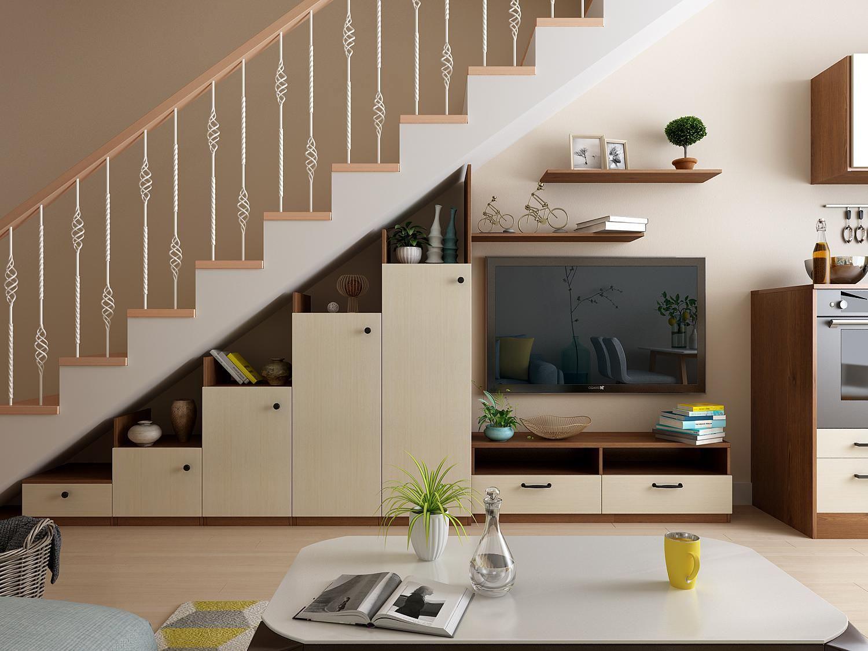 Thiết kế kệ tivi kèm tủ trang trí đồng nhất với cầu thang phòng khách