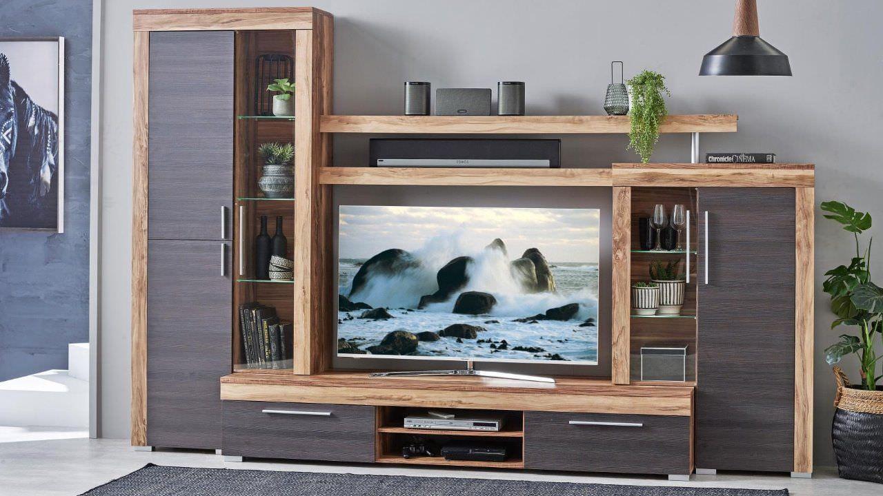 Kệ tivi gỗ 2 màu có kèm tủ rượu nhỏ đẹp