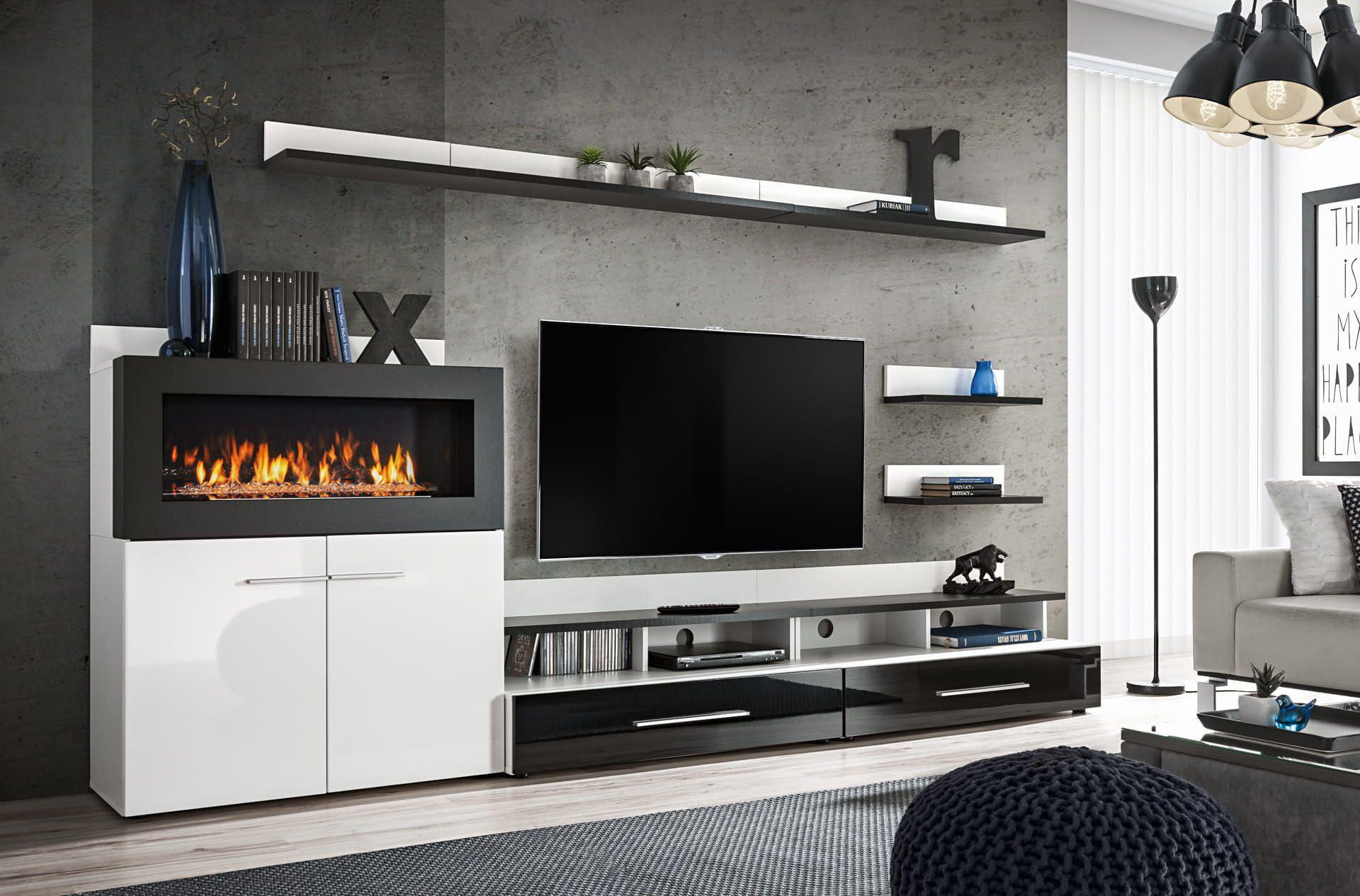 Kệ tivi kết hợp lò sưởi điện