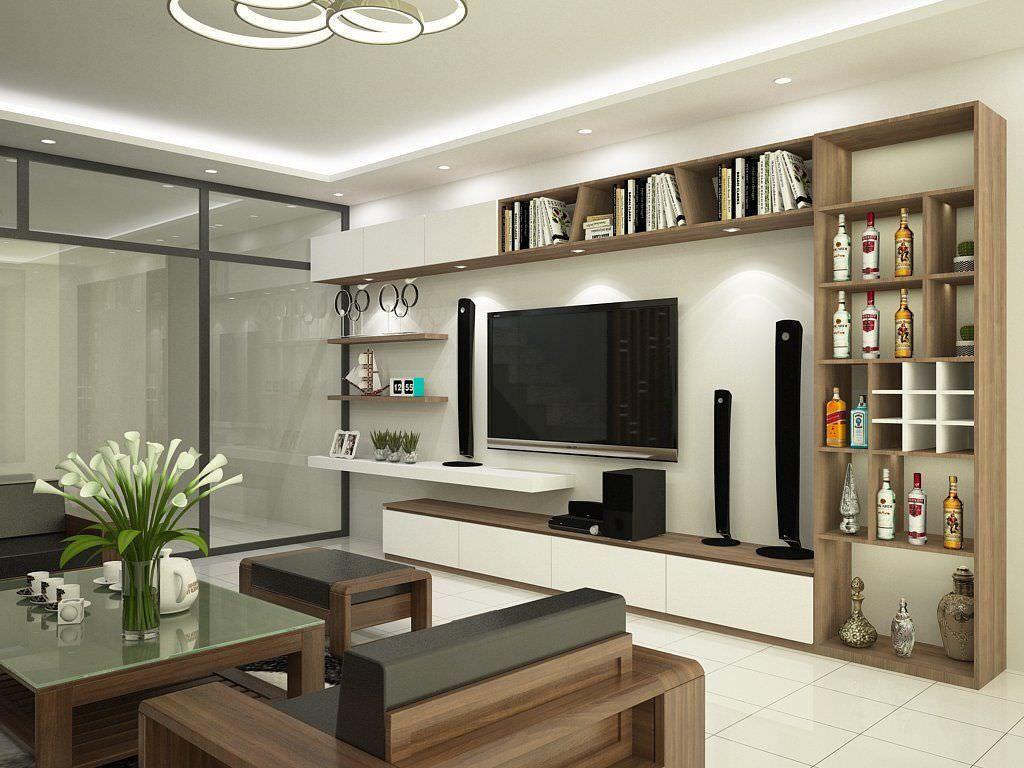 Thiết kế kệ tivi kết hợp tủ rượu full tường phong cách hiện đại với chất liệu gỗ công nghiệp bền đẹp , tăng sự tiện nghi cho không gian