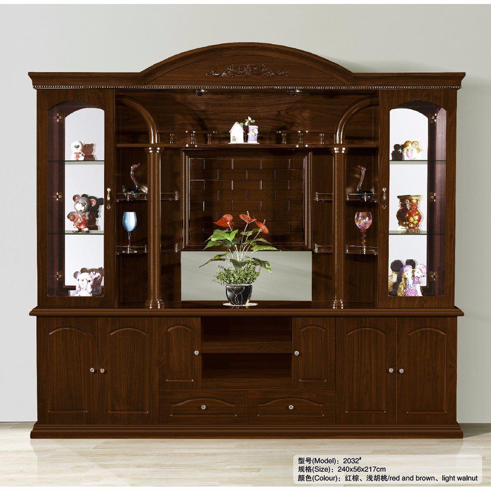 Mẫu tủ tivi kết hợp tủ rượu cửa kính màu gỗ nâu trầm đẹp ấm cúng