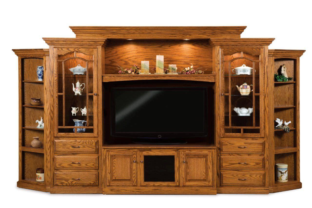 Mẫu tủ tivi kết hợp tủ rượu lớn cho phòng khách biệt thự