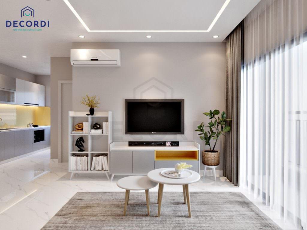 Kệ tivi thiết kế nhỏ gọn phù hợp với không gian nội thất chung cư