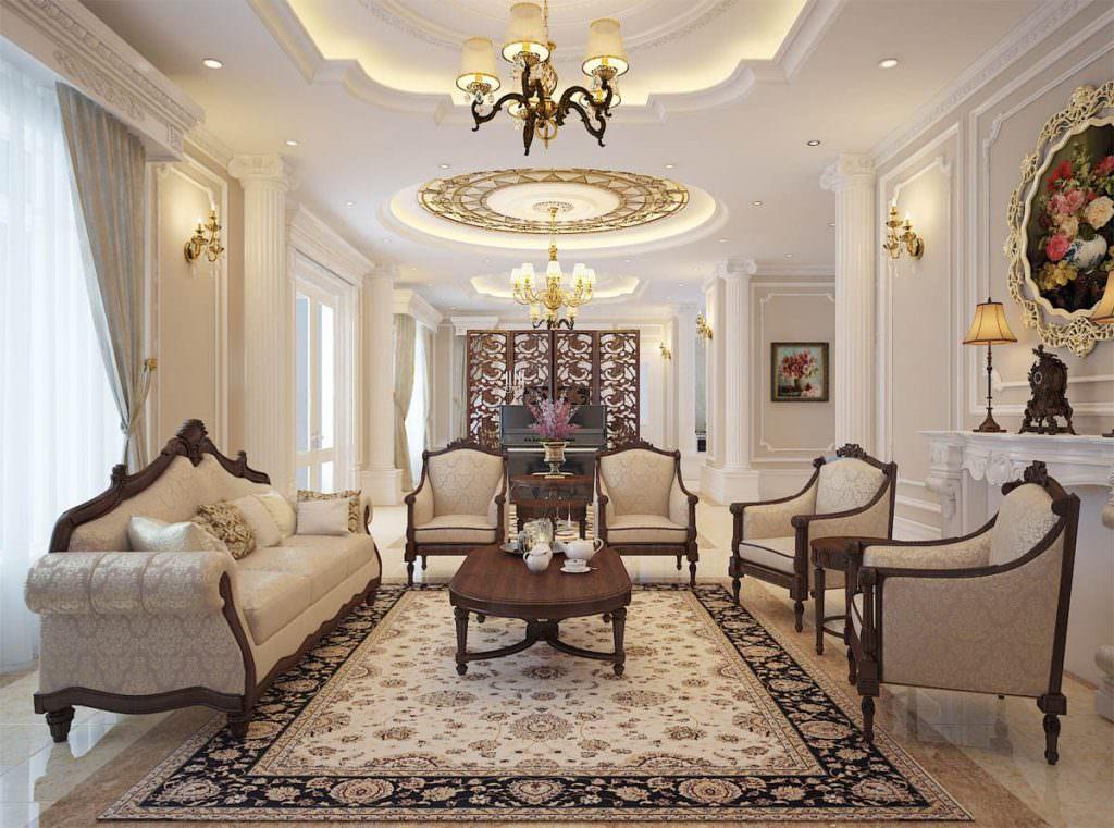 Không gian phòng khách lớn phong cách cổ điển cho nhà biệt thự